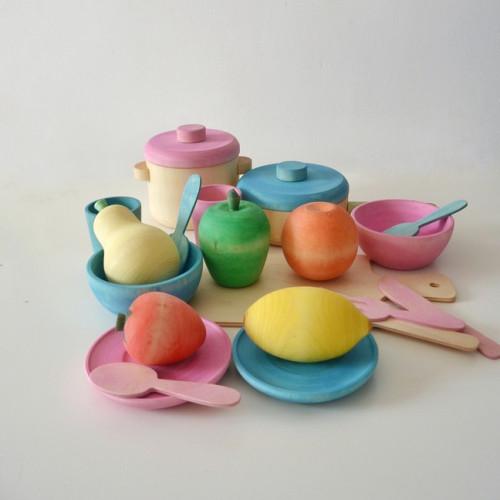 Wood tea set Montessori toy
