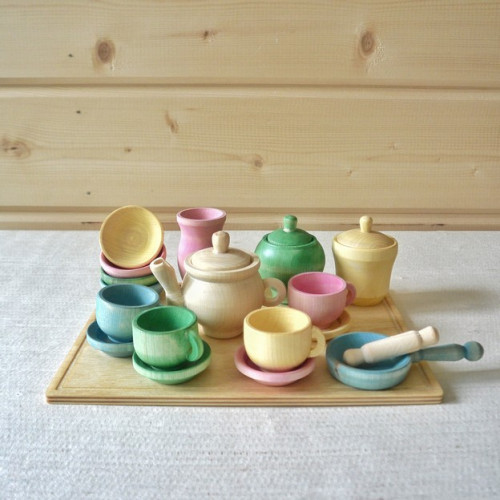 """Set of dishes """"Spring"""" + tray"""