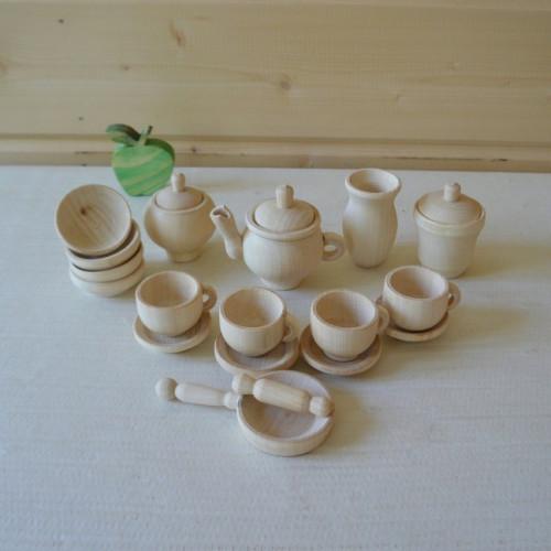 "Wooden tea set ""White"" Wooden dishes Tea set Dishes"
