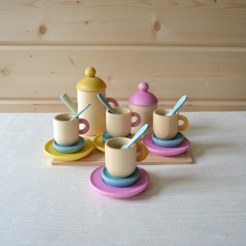 Tea set for playing in the children's kitchen