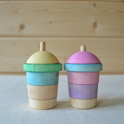 "Wood toy sorter Milkshake ""Pastel"""